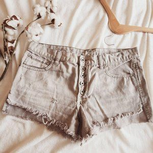 Free People Distressed Cut Off Gray Jean Shorts 29